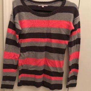 Gap coral and gray striped crew neck sweater